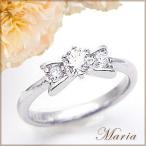 pt900 pt950リボンダイヤモンドリング(指輪)『RiinMaria』0.3ctアップ [SIクラス/無色透明F〜Dカラー]