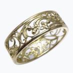 リング 18金 地金リング 透かし模様 アンティーク調 k18ゴールド 【K18WG】【K18YG】【K18PG】  結婚指輪 プレゼント