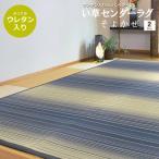 い草ラグ 3畳 厚手 ストライプ ネイビー ふっくらウレタン入り 174×230cm セール価格 (そよかぜ)