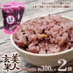 美人玄米 玄米 国産 黒米 玄米 大豆 無洗米 食物繊維 アントシアニン イソフラボン 300g 2袋 4982466008331
