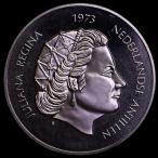 オランダ領アンティル 1973年 25ギルダー プルーフ 大型銀貨 ユリアナ女王25周年