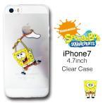 ★メール便/送料無料★ スポンジボブ iPhone7 クリアケース 液晶フィルム付き SpongeBob SquarePants 透明ケース アイフォン7 アップルマーク