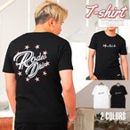 Tシャツ メンズ 半袖 バックプリント ロゴ 英字 星 ラメプリント カットソー 白 黒 ビター系