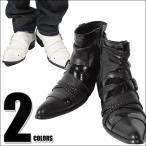 送料無料/ブーツ/メンズ/BOREDOM(ボアダム)/編み込みエナメルクロスベルトショートブーツ/お兄系/ショートブーツ