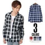 シャツ メンズ 長袖 チェック/Garson Wave(ギャルソンウェーブ)ブロードオンブレチェックワンナップオープンシャツ/チェックシャツ トップス ワンナップ