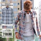 ウエスタンシャツ メンズ シャツ インディゴ チェック 長袖/インディゴ染めウエスタンチェックシャツ/ウエスタン チェックシャツ ネルシャツ デニム チェック柄