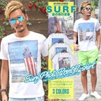 ショッピングリゾート Tシャツ メンズ 半袖 星条旗 アメリカ国旗 サーフ SURF プリント BITTER ビター系 夏/サーフフォトボックスプリントインクジェット半袖Tシャツ/トップス ビーチ