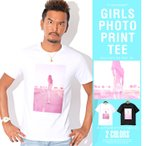 Tシャツ メンズ 半袖 ガールズ ボックスロゴ フォト 夏 BITTER ビター系/ガールズフォトボックスプリント半袖Tシャツ/トップス 半そで ロゴ サーフ系 アメカジ