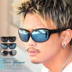 サングラス メンズ グラサン バタフライ UVカット ミラーレンズ 黒縁 ファッション小物 ビター系