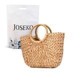 JOSEKO ストローバッグ かごバッグ レディース 手提げバッグ トートバッグ 夏バッグ おしゃれ 軽量 半円形 プレゼント 浴衣向け 旅