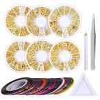 3Dネイルアートデコレーションブリオン ネイルデザイン ミックス日式パーツ シルバー&ゴールド 精選6種ラウンドケースセットピンセット付工具