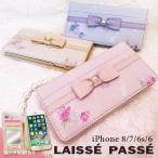 ショッピングプリント iPhone8/7/6s兼用 LAISSE PASSE(レッセ・パッセ) 手帳ケース フラワープリント