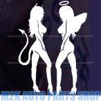 送料無料 Sexy セクシー 天使 悪魔 エンジェル デビル スタンディング jdm usdm ステッカー ヘラフラ スタンス 1枚 シルバー