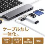 サンワダイレクト MacBook Pro MacBook Air 2018専用 USB-Cハブ PD対応 HDMI SD microSD USB3.0 2 400-ADR320GPD