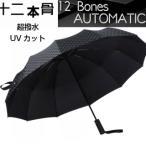 折りたたみ 傘 メンズ 自動開閉 強い 超撥水 UVカット グラスファイバー 使用 ケース 付き 12本骨 日傘
