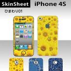 iPhone4S  専用 スキンシート 外面セット(表面・裏面) 【 ひまわり01 柄】