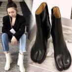 足袋ブーツ ショートブーツ 牛革 足袋ホック 太ヒール サイズ豊富 美脚 疲れない カジュアル フェミニン きれいめ こなれ感 秋冬 デート お出かけ