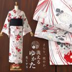 新作ゆかた「嵐山よしむら」仕立て上がり洗える浴衣(単品)- 花くす玉(白×薄青 SYU4175-B17)※セオα-古典柄 花柄 フラワー 薬玉 オフシロ ミズイロ 日本製