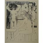 ポール・デルヴォー「若い娘たち」(版画)【額縁無し】[A980001]Paul Delvaux