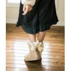 【キャサリンコテージ】ムートン風 ボア リボン ブーツ キッズ