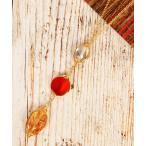 【ワイスチャーム】【こっくり色濃い秋アクセ】オレンジ3粒天然石ネックレス