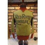 "フリーホイーラーズ FREEWHEELERS 1734003 POWER WEAR COLORED TRIMMED SWEAT SHIRTS ""RED RIVER LUMBER CO."" [OLIVE×CRIMSON]"