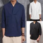 ショッピングカットソー Tシャツ メンズ トップス Tシャツ カットソー 無地 かっこいい Tシャツ カットソー 七分袖 無地 リネン カジュアル Tシャツ