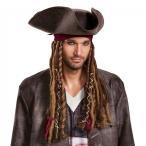 キャプテンジャックハット バンダナ&ドレッドヘアー付き パイレーツオブカリビアン 最後の海賊 ジャックスパロウ 帽子 ウィッグ