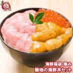 築地の海鮮丼セット(極み 約2杯分)本マグロ大トロ特盛り200g&無添加生うに&北海道産イクラ