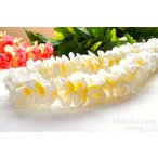 プルメリア プナ レイ ( ホワイト&イエロー)(白&黄色) 本格 ハワイアン フラ 112cm 男女兼用