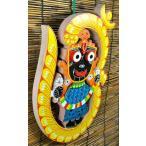 インド神像雑貨 ジャガンナータとオームの壁飾り オリッサ州の土着神 アジアン雑貨