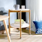 MAHOME テーブル サイドテーブル 木製 丸 ベッド テーブル ワゴン キャスター キャスター付き サイドテーブル 二段 白 63*46*46CM サイドラック サイドワゴン