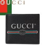 グッチ GUCCI 財布 二つ折り財布 折財布 グッチ プリント レザー コイン ウォレット メンズ ヴィテージロゴ ブランド 使いやすい 本革 黒 ブラック