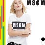 エムエスジーエム MSGM Tシャツ 半袖 レディース プリント ロゴ 無地 ホワイト ブラック 白 黒 MDM95-184229