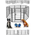 Sasuga ペットフェンス 大型犬 中型犬( ペットグローブ付 )扉付き 折り畳み式 多頭飼い パネル8枚 ペットサークル クレート 室内 屋外 (80×80cm)