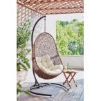 クッション付き ハンギングチェア / ガーデンファニチャー チェア 吊りイス ゆりかご スタンド付き 一人掛け 庭 屋外 ベランダ リビング デッキ