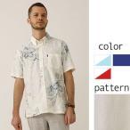 かりゆしウェア 沖縄版 アロハシャツ MAJUN マジュン メンズ 半袖シャツ ボタンダウン エンブロイダリーオーキッド