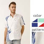 かりゆしウェア 沖縄版 アロハシャツ MAJUN マジュン メンズ 半袖シャツ ボタンダウン ストレリチアウェーブ