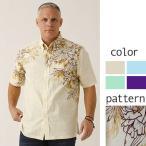 かりゆしウェア 沖縄版 アロハシャツ MAJUN マジュン メンズ 半袖シャツ ボタンダウン ストレリチアハイビ