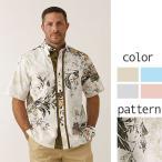 かりゆしウェア 沖縄版 アロハシャツ MAJUN マジュン メンズ 半袖シャツ ボタンダウン かすれフェニックス