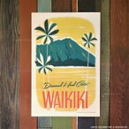 Nick Kuchar Retro Hawaii Travel Print Diamond Head Crater 30.5×45.7cm ハワイアン雑貨 ニック カッチャー サーフ アート レトロ ハワイ プリント