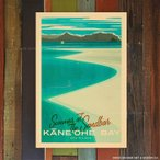 Nick Kuchar Retro Hawaii Travel Print Kaneohe Bay Sandbar 30.5��45.7cm �ϥ磻���� �˥å� ���å��㡼 ������ ������ ��ȥ� �ϥ磻 �ץ���