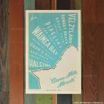 Nick Kuchar Retro Hawaii Travel Print North Shore Oahu Surf Map 30.5��45.7cm �ϥ磻���� �˥å� ���å��㡼 ������ ������ ��ȥ� �ϥ磻 �ץ���