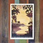 �˥å����å��㡼 Retro Hawaii Travel Print��PRINCEVILLE KAUA'I�� 30.5��45.7cm ��nick kuchar/�ϥ磻/�ϥ磻����/������/����/�ɳݤ�/����