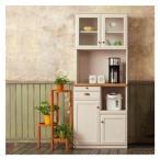 フレンチカントリー 食器棚 完成品 家具 ユーアイ クリチコ 木目ホワイト K-700HOP