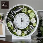 ホワイトデー 花 プレゼント 花時計 プリザーブドフラワー 結婚祝い 新築祝い 白 グリーン ペアティチュード