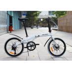 送料無料税込みハチコ HACHIKO 高炭素鋼 折り畳み自転車 SHIMANOシマノ7段 変速 20インチ (白い)[98%完成品]フェンダー付き HA-02-White