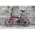 20インチ ミニベロ 高炭素鋼 折り畳み自転車 SHIMANOシマノ 全体7段変速 前後ディスクブレ...