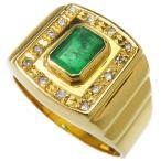 「16号 印台風 エメラルド 0.85ct ダイヤモンド 計0.10ct リング・指輪 K18ゴールド 11.7g ユニセックス」の画像