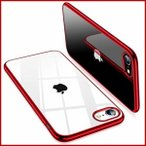 TORRAS iPhone SE 用ケース[第2世代] iPhone7 / iPhone8 用ケース【2020年新型】透明 ソフトTPU 赤 メッキ加